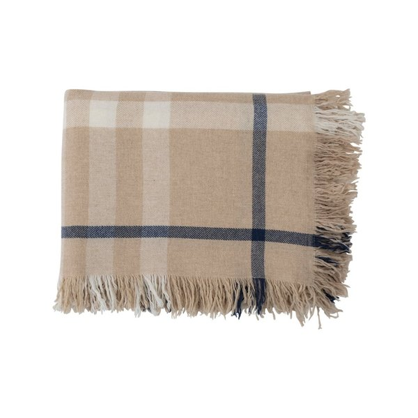 Lexington, Checked Wool Throw, Beige/Blau/weiß, Größe 130x170 cm