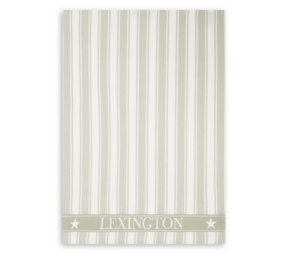 Icons Cotton Twill Waffle Striped Kitchen Towel, Sage Beige/White von Lexington