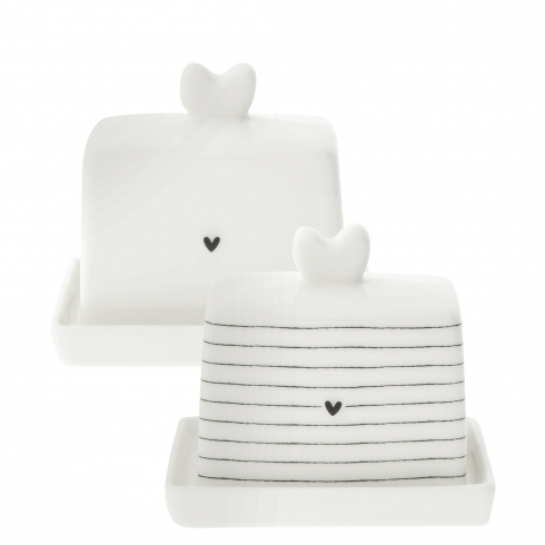Kleine Butterdose Heart / Stripes von Bastion Collections