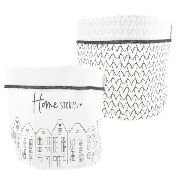 "Brotkorb ""Breadbag White with Hearts & Houses"" von Bastion Collections"
